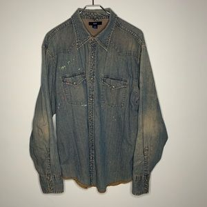Gap mens distressed paint splatter jean button up